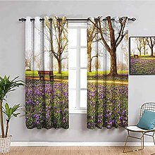 ILMF Blackout Curtain Set With Eyelet, Park Tree