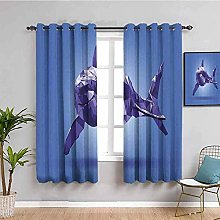 ILMF Blackout Curtain Set With Eyelet, Purple