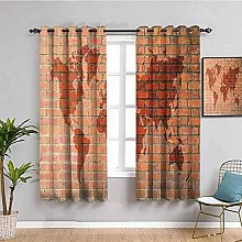 ILMF Blackout Curtain Set With Eyelet, Red Brick