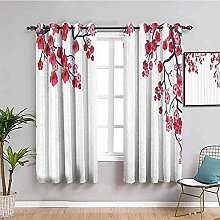 ILMF Blackout Curtain Set With Eyelet, White Plum