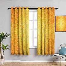 ILMF Blackout Curtain Set With Eyelet, Yellow