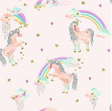 Imagine Fun Wallpaper Rainbow Unicorn Pink 696108