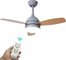 Imitation Wood Grain Ceiling Fan with Light,Remote