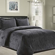Imperial Rooms Dark Grey Bedding Double Crushed