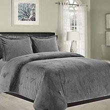 Imperial Rooms Grey Bedding Single Crushed Velvet