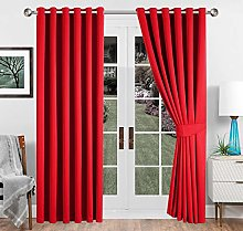 Imperial Rooms Red Blackout Curtains 90 x 108