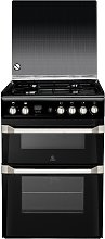 Indesit ID60G2K 60cm Double Oven Gas Cooker - Black