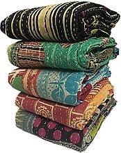 Indian Bengali Vintage Kantha Quilts 5 Pieces Mix