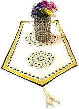 Indian Cotton Luxury Table Runner with Tassels at
