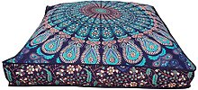 Indian Hippie Bohemian tapestry seating pouf dog