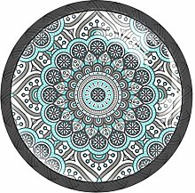 Indian Mandala Psychedelic Grey Henna Knobs and
