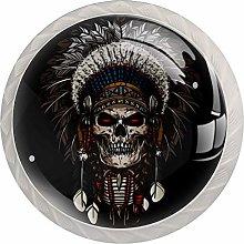 Indian Skull 4pcs Glass Cupboard Wardrobe Cabinet