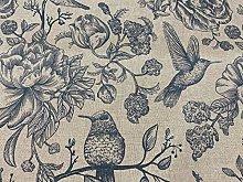 Indigo Birds Toile 140cm Curtain Fabric Designer
