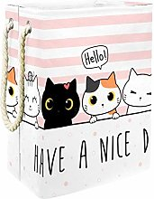Indimization Cartoon Cat Pink laundry bin Oxford
