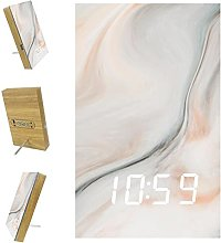 Indimization LED Clock Gray White Marble Digital