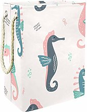 Indimization Seahorse Animal Pink laundry bin
