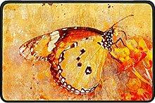 Indoor Doormat Butterfly Floral Front Door Mat Non