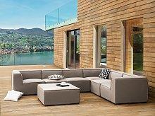 Indoor Outdoor Corner Sofa Set Beige Fabric