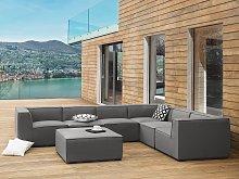 Indoor Outdoor Corner Sofa Set Grey Fabric