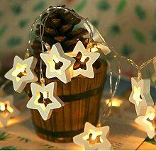 Indoor String Lights, 2M 20LED Wooden Star String
