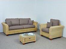 Indoor Wicker 3 Seater Sofa Set - Sofa, Armchair,