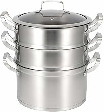 Induction Steamer Pans 27cm 3 Tier Stainless Steel