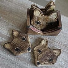Indus Lifespace Set of 6 Wooden Fox Coasters in