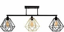 Industrial 3 Way Black Bar Ceiling Light - Black &