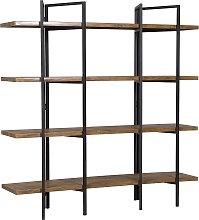 Industrial 5-Shelf Storage Bookcase Dark Wood