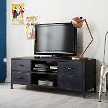 Industrial Black Reclaimed Iron 4 Drawer TV
