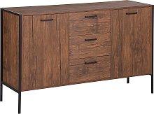 Industrial Cabinet with Drawers Dark Wood Metal