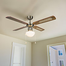 Industrial ceiling fan with lamp 100 cm wood - Wind