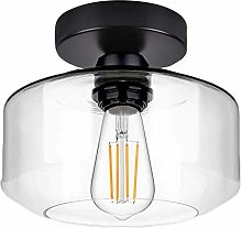 Industrial Ceiling Light Fixture with Clear Glass