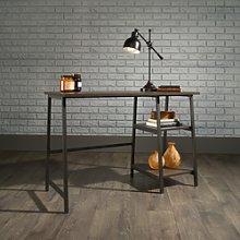 Industrial Desk Black Frame Smoked Oak Effect Top