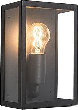Industrial exterior wall lamp black with glass