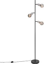 Industrial floor lamp black with concrete 3-light