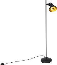 Industrial floor lamp black with gold 1-light -