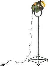 Industrial floor lamp bronze with green 140 cm -