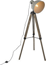Industrial floor lamp on wooden tripod with gray