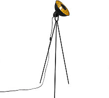 Industrial floor lamp tripod black with gold -