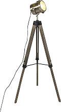 Industrial floor lamp tripod wood with studio spot