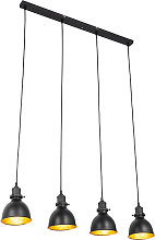 Industrial hanging lamp black with gold 4-lights -