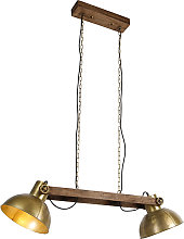 Industrial hanging lamp gold 2-lights with wood -