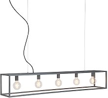 Industrial hanging lamp gray 5-light - Cage
