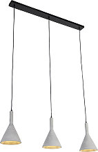 Industrial hanging lamp gray with black 3-light -
