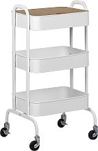 Industrial Kitchen Trolley White Shelves
