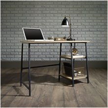 Industrial Office Desk Black Frame Oak Effect Top