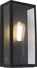 Industrial outdoor wall lamp black IP44 with glass