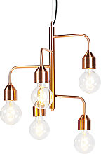 Industrial pendant lamp copper 5 lamps - Darren