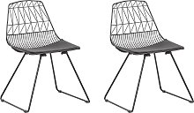 Industrial Set of 2 Dining Chairs Metal Black Faux